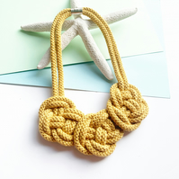 Chunky Statement cotton rope necklace, bright yellow necklace, Gifts for her