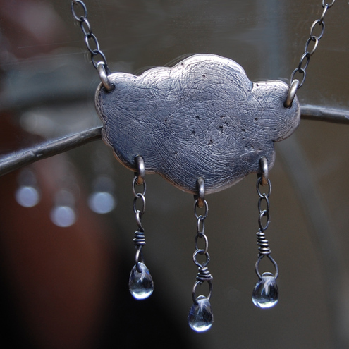 Silver cloud with raindrops pendant necklace