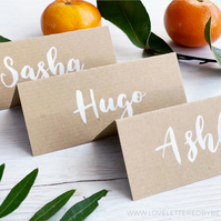 Kraft Place Cards, Brush Lettering, Rustic Wedding