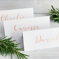 Calligraphy Place Cards, Wedding Place Cards, Gold, Rose Gold