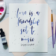 Watercolour Quote, Calligraphy, 8x10, Custom Brush Lettering