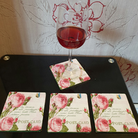 Vintage Rose Wooden Coasters (Ref 0013)