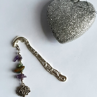 Amethyst & Aventurine Bookmark with Tree of Life Embellishent (Ref 0007)