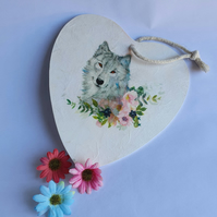 Wolf with Pink Flowers Hanging Heart (Ref 0026)