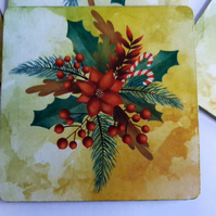 Red Candy Cane and Poinsettia Wooden Coasters (Ref 0036)