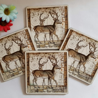 Two Stags Coasters (Ref 0061)