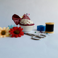 Aubergine Ramekin Novelty Pin Cushion With Large Bow (Ref 0066)