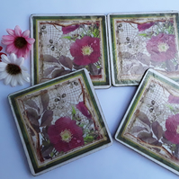 Old English Rose Coasters (Ref 0068)