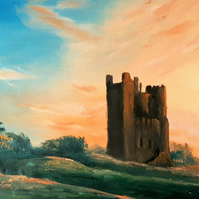 Sunrise Over Orford Castle, Original Oil Painting