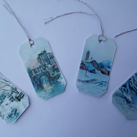 Blue Ice Vintage Christmas Gift Tags (Ref 0098)