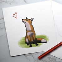 Cute Fox Illustrated Greeting Card. Birthday Card, Anniversary