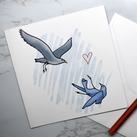 Cute Falling Bird Illustrated Romantic Greeting Card
