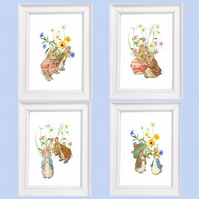 Set of FOUR Nursery Prints, Wildflowers, Peter Rabbit, Beatrix Potter.