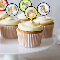 Cupcake Toppers, Birthday Parties, Christenings, 2 Inch Circle, Beatrix Potter,