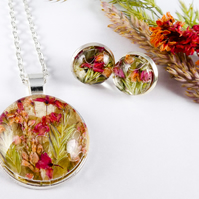 Dried Real Flower Necklace & Earring Set