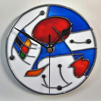 Very unusual, one of a kind, handmade faux stained glass clock