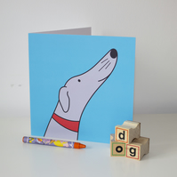 Sid the sighthound, whippet, lurcher, greyhound greeting card