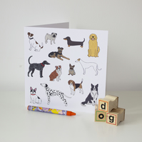 Mixture of dog illustrations greeting card