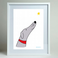 Wish - Greyhound, lurcher, whippet A4 print