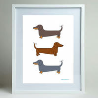 Dachshunds or Sausage dog A4 print, wall art.