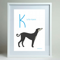 K is for Kanni sighthound dog A4 print