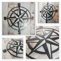 Premium Nautical ships compass Sign 50cm hand finished wall art steel beach sea