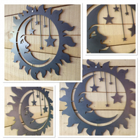 Premium MOON STARS SUN Sign 50cm hand finished wall art steel Spiritual garden