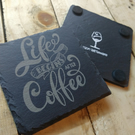 Coffee 4 Pack Life Begin's after Coffee Gift Slate Coasters Engraved Gift