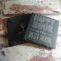 4 Pack Happy Hour is the best hour Design Slate Coaster Laser Engraved Gift Set