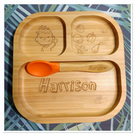 Personalised Plate & Spoon Eco Bamboo with Suction cup Boy Girl baby Gift dish