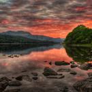 Dawn breaking over Coniston Water