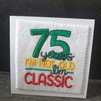 embroidered 75th birthday card