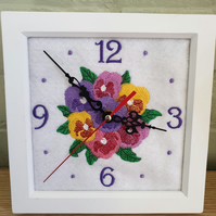 Embroidered Pansy Clock