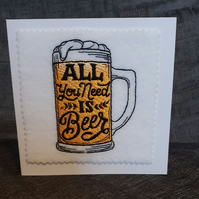 Embroidered Beer Card