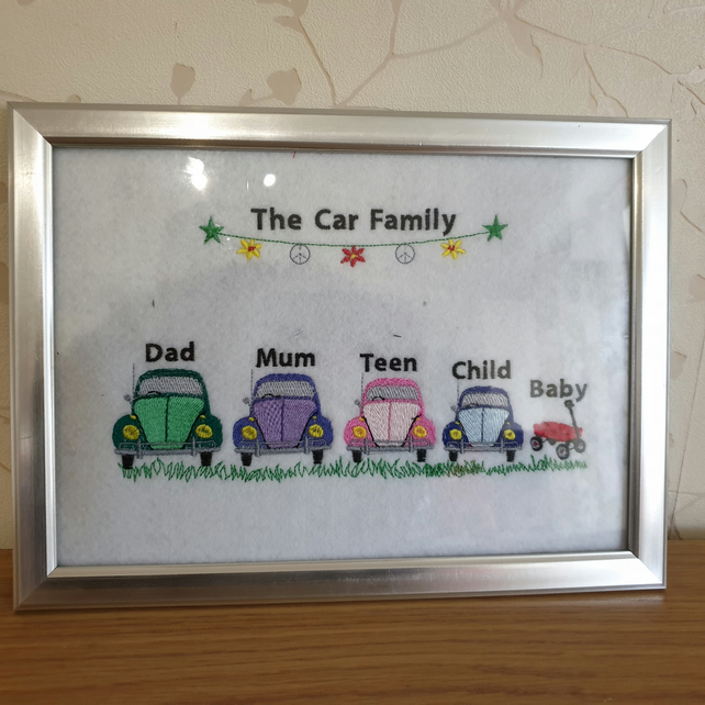 embroidered vw beetle family frame