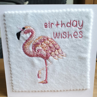 embroidered flamingo Birthday Card