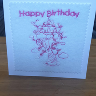 Embroidered Fairytale Tree Birthday Card