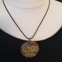 Round Red and Gold Texture Clay Necklace (1591)