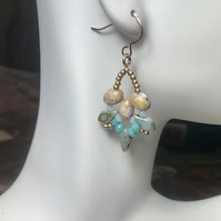 Sterling Silver Rose Gold Plated & Czech Glass Earrings