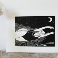 Original Under the stars linocut print