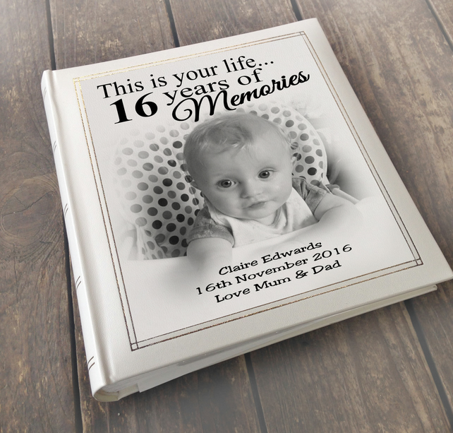 newborn baby boy present Personalised faux leather photo album memory book