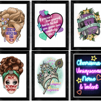 Drag Race quotes Tattoo Style Art Prints, RDPR, Not Today Satan