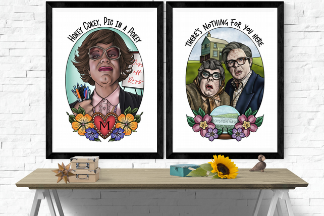 League of Gentleman Art Prints, Tattoo Style, A5 and A4 Hand drawn