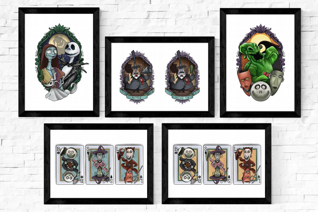Nightmare Before Christmas Tattoo Style Art Prints, A5, A4