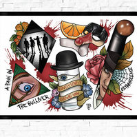 A Clockwork Orange film poster, Tattoo Style Flash Sheet, A4 or A3, cult film