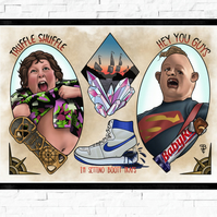 Goonies film poster, Tattoo Style Flash Sheet, A4 or A3, cult film