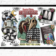 Beetlejuice Tattoo Style Flash sheet print, A4, A3 film memorabilia, cult