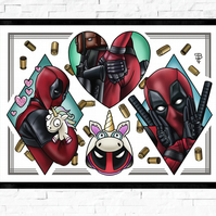 Deadpool film poster, Tattoo Style Flash Sheet, A4 or A3, cult classic