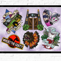 Jurassic Park film poster, Tattoo Style Flash Sheet, A4 or A3, cult classic