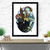 How to Train your Dragon film poster, Tattoo Style Flash Sheet, A4 or A3,